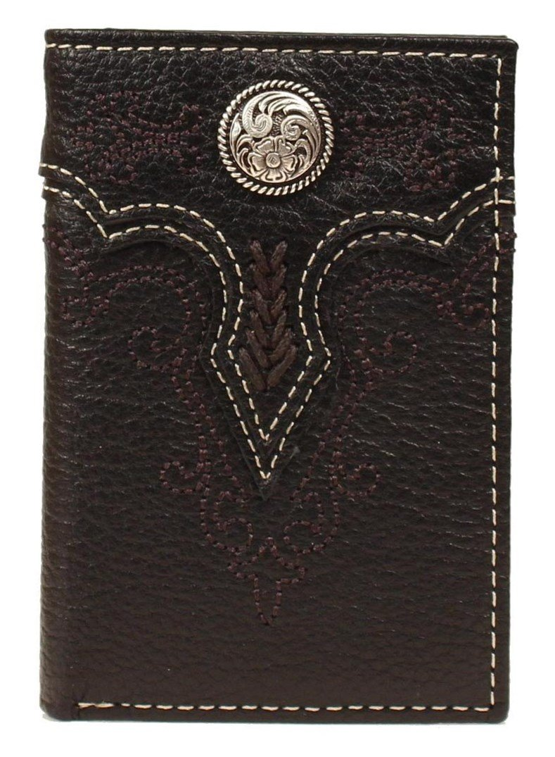 Ariat Men's Floral Concho Embroidery Tri-Fold, Black, One Size