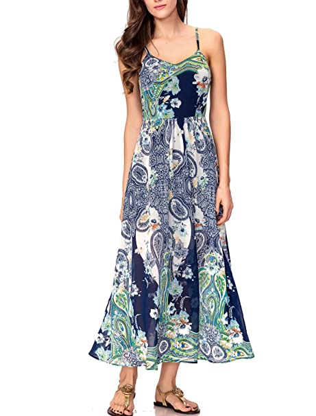 cdb9309ca208 Noctflos Women's Summer Chiffon Spaghetti Strap Boho Floral Maxi Dress