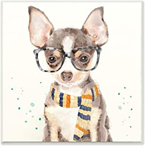 The Stupell Home Décor Collection Hipster Chihuahua Puppy with Glasses and Scarf Watercolor Wall Plaque Art, 12 x 12, Multi-Color