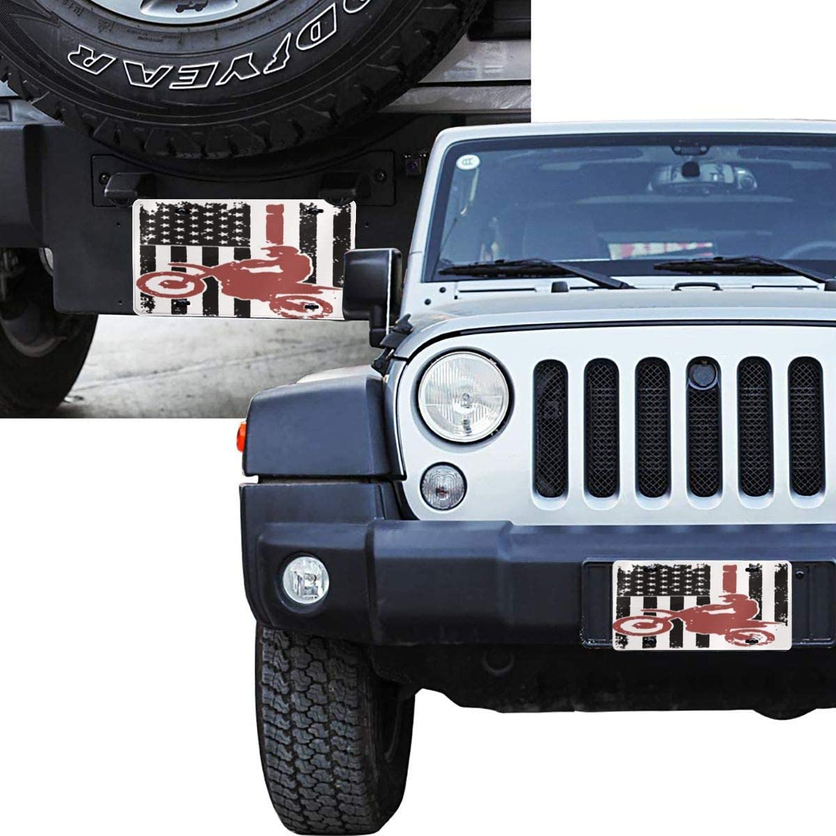 USA Flag Dirtbike Motocross License Plate Metal Aluminum Vanity Auto Car Tag for Decoration 6x12 Inchs