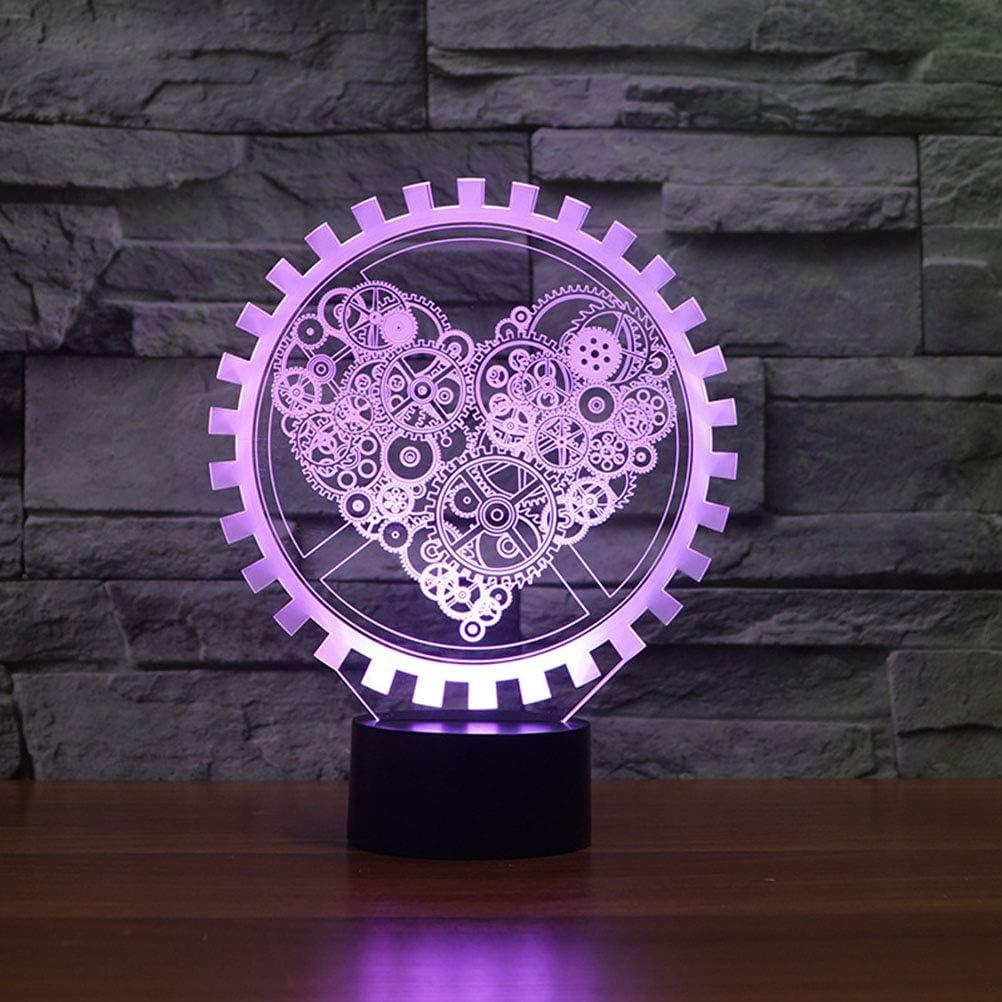 Keine Batterie Uonlytech Zahnrad Form Herz Design Lampe 3D LED nachtlicht Touch Schalter 7 Farbe schreibtischlampe f/ür Tisch Schlafzimmer wohnkultur