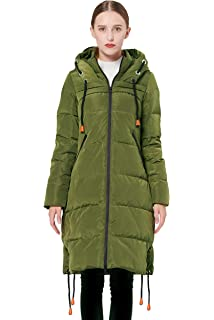 b0d7e8efe4a Orolay Women's Thickened Contrast Color Drawstring Down Jacket Hooded Coat