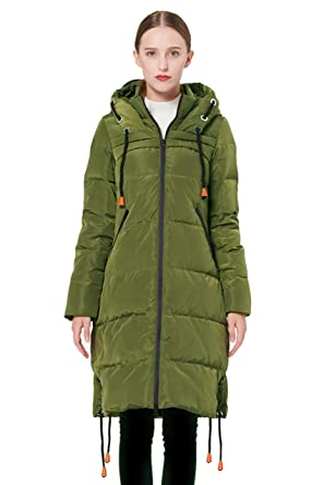 3740fbb7d Orolay Women's Thickened Contrast Color Drawstring Down Jacket Hooded Coat
