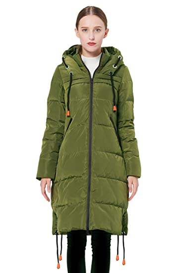 1e145254f Orolay Women's Thickened Contrast Color Drawstring Down Jacket Hooded Coat