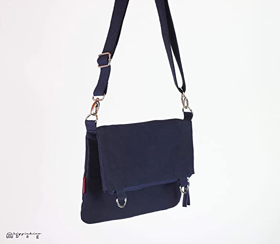 aca2b9071c8b Image Unavailable. Image not available for. Color  Small Navy Blue Waxed  Crossbody Foldover Tote Bag ...