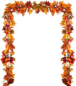 2 Pack Artificial Fall Maple Leaf Garland Hanging Vine Garland for Indoor Outdoor Autumn Wedding Thanksgiving Party Home Décor