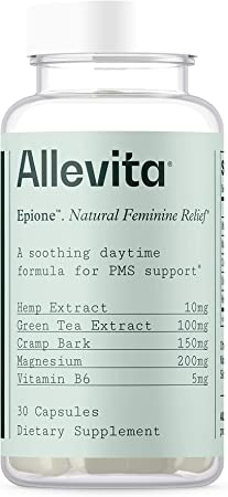 Allevita Natural PMS Relief for Women   Supports Hormonal Changes and PMS Symptoms in an Easy-to-Take Pill Supplement with Hemp Extract, Cramp Bark, Magnesium, Vitamin B6, and Green Tea