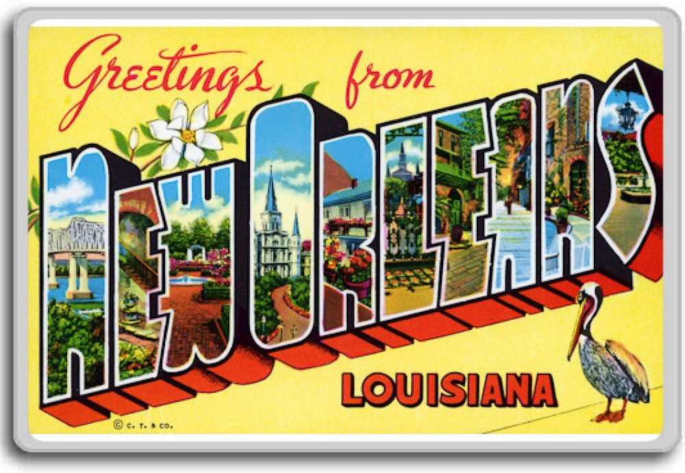 Greetings From New Orleans - Vintage 1940s Postcard fridge magnet