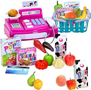 Doll Sized Cash Register, Grocery Basket and Food Set | 18 Inch Doll Play Set with Pretend Food | Play Cashier with Your Dolls or Plush Friends