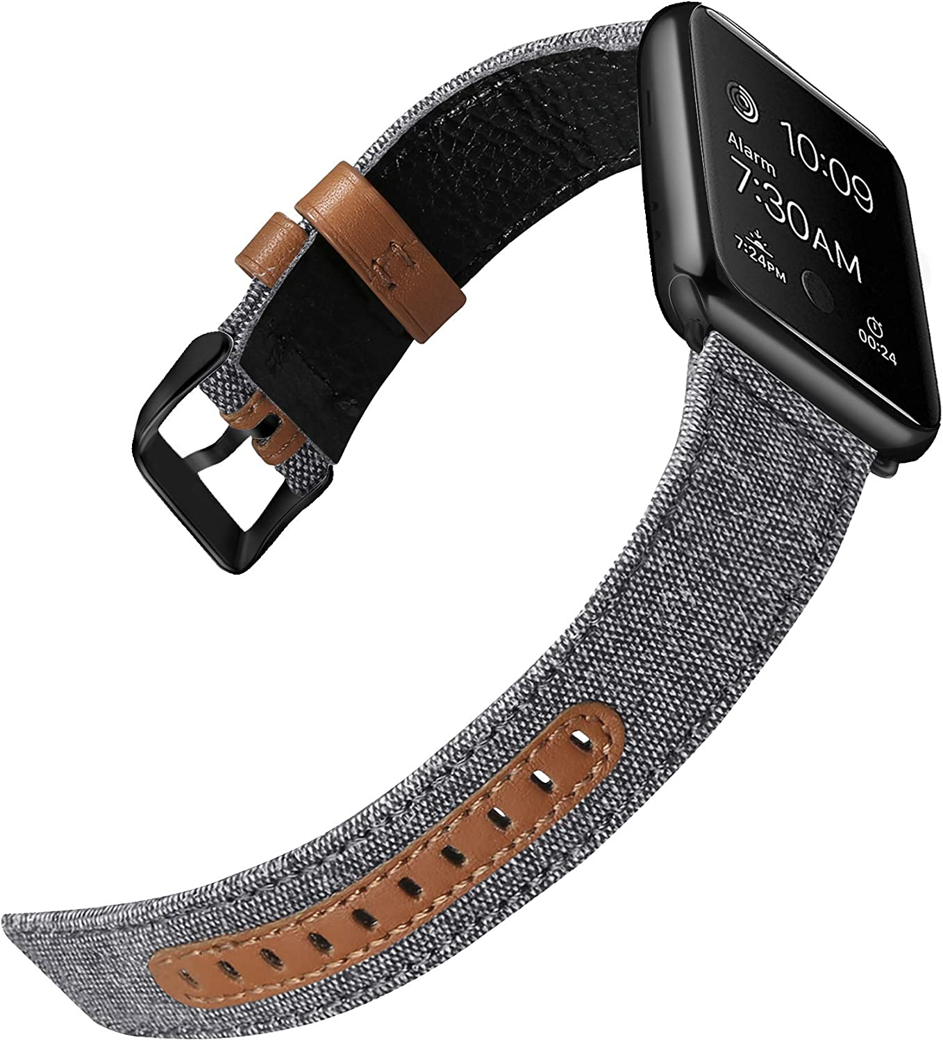 iHillon Bands Compatible with Apple Watch 42mm 44mm 38mm 40mm Series 6 SE Series 5 Series 4 Series 3 Straps, Classic Canvas Fabric Genuine Leather Wristbands Black Silver Buckle for iWatch Series 2 1