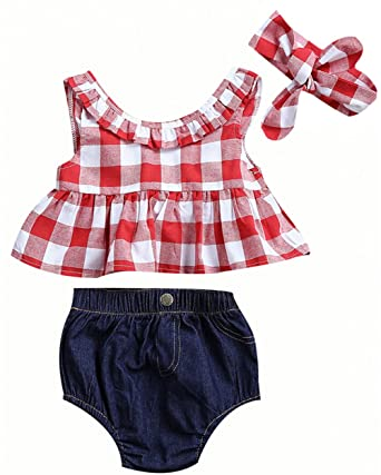 835eb7951ff Amazon.com  Baby Girls Plaid Ruffle Bowknot Tank Top and Denim Shorts Outfit  with Headband  Clothing