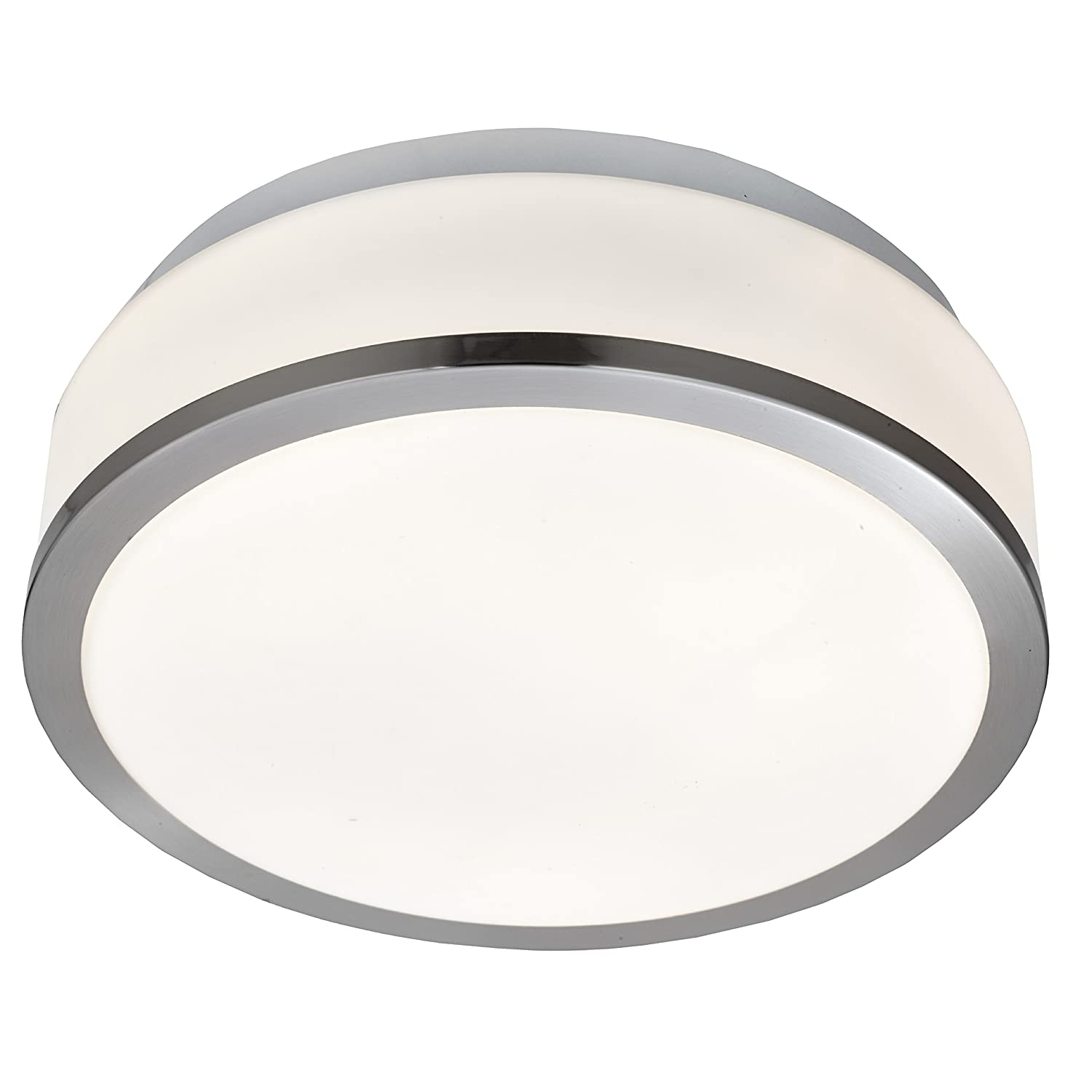 Modern IP44 White Glass Bathroom Flush Light in Satin Silver by Laeto Lighting Searchlight Electric