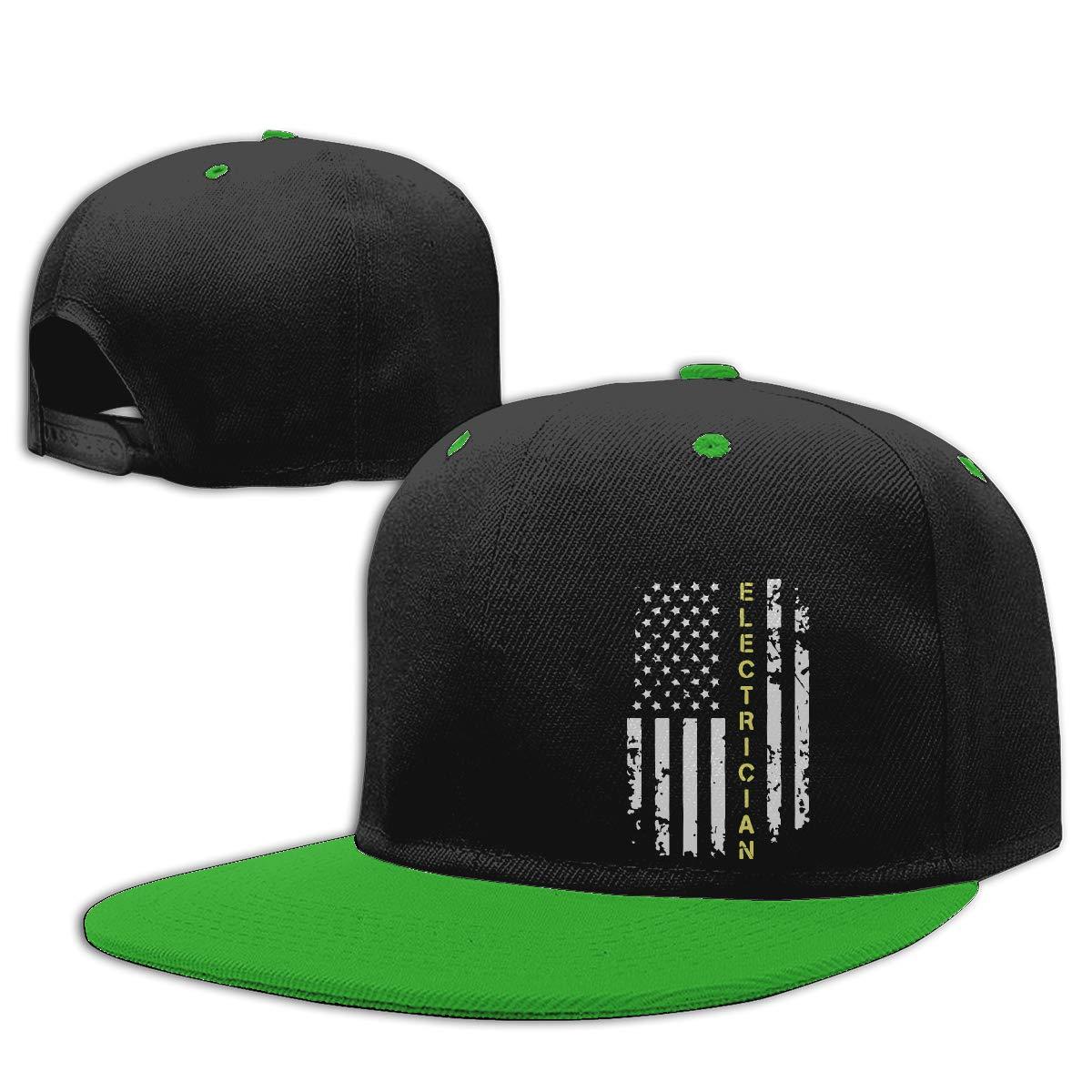 Electrician American Flag Printed Flat Bill Baseball Caps Men and Women Punk Rock Cap