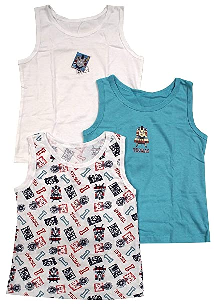 Boys Thomas The Tank Vests 3 Pack Sleeveless 18 Months to 6 Years