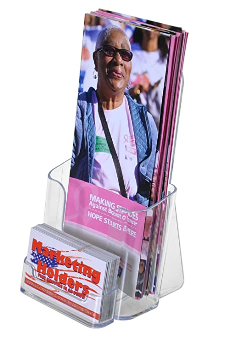 Wall-Mount or Counter Top Brochure with Business Card Holder Clear Acrylic