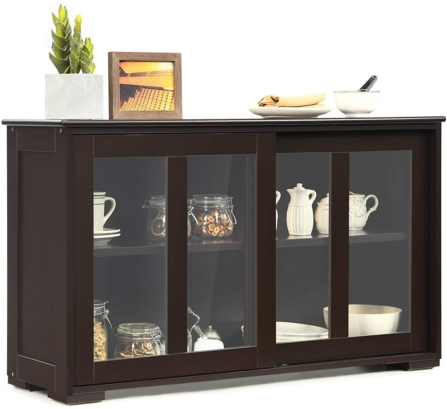 Costzon Kitchen Storage Sideboard, Antique Stackable Cabinet for Home Cupboard Buffet Dining Room (Coffee Sideboard with Sliding Door Window)