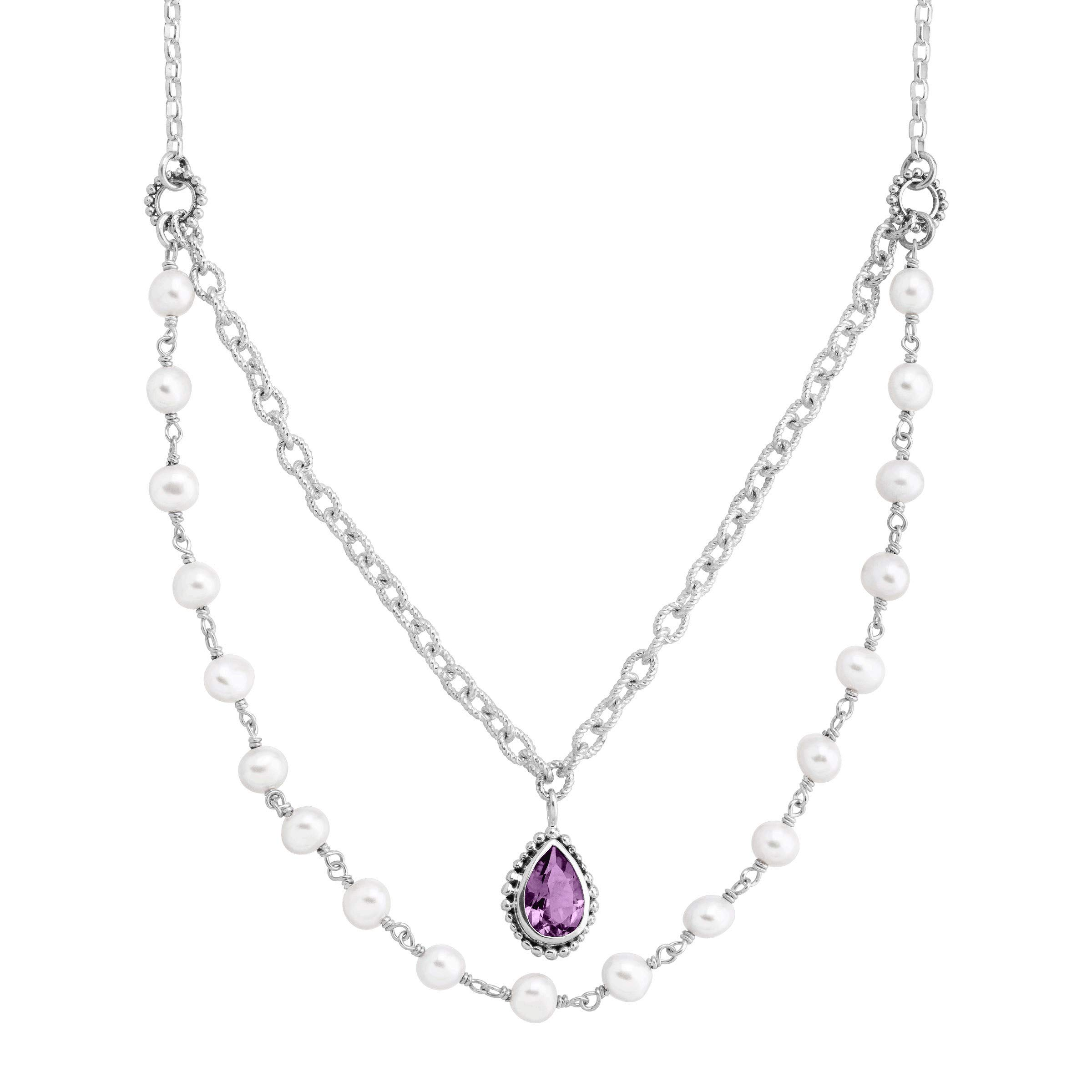Silpada 'Sunset' Natural Amethyst & 5-5.5 mm Freshwater Cultured Pearl Layered Necklace in Sterling Silver