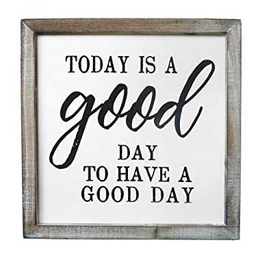 SANY DAYO HOME Wall Decor Signs with Inspirational Sayings 12 x 12 inches Rustic Wood Framed Modern Farmhouse Wall Hanging Art - Today is A Good Day to Have A Good Day