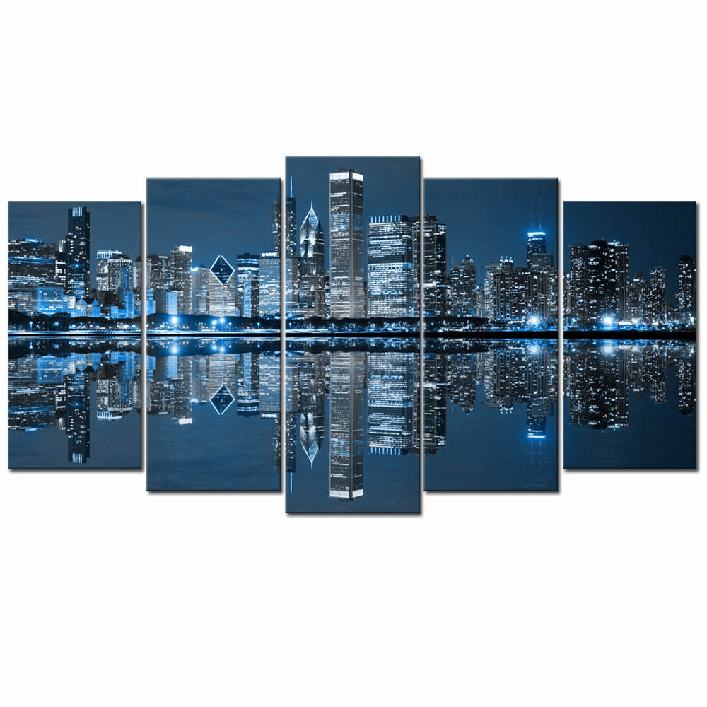 Live Art Decor- Chicago Downtown at Night Picture Canvas Print - Modern City Wall Art - Large 5 Panels Framed Artwork for Office Living Room Wall Decoration