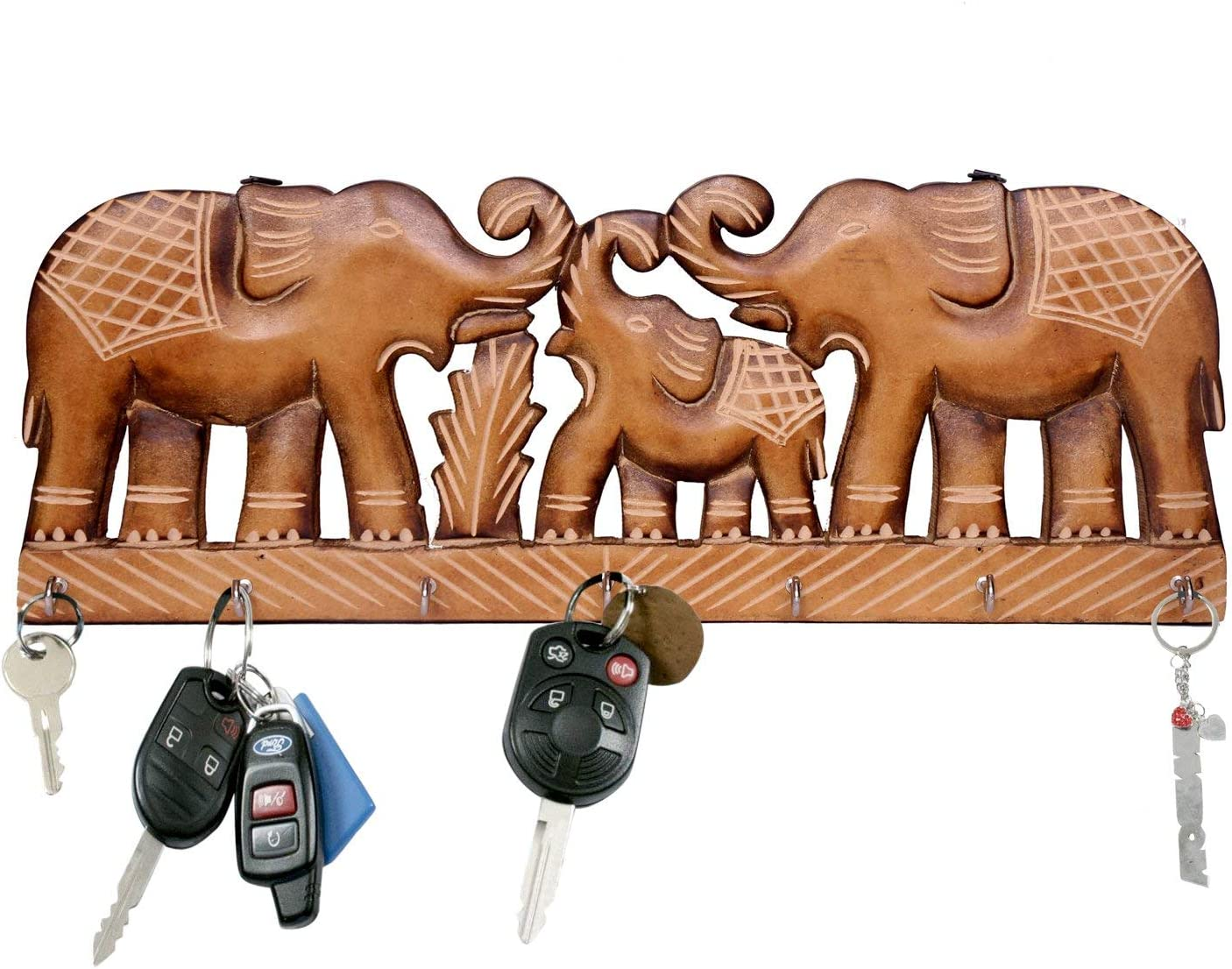 Amazon Com Willart Key Holder For The Home Hand Crafted Elephant Design Key Hooks For Wall Key Hangers Key Rack Vintage Design Home Decor 15 5 X 6 X 1 Inch Home Improvement