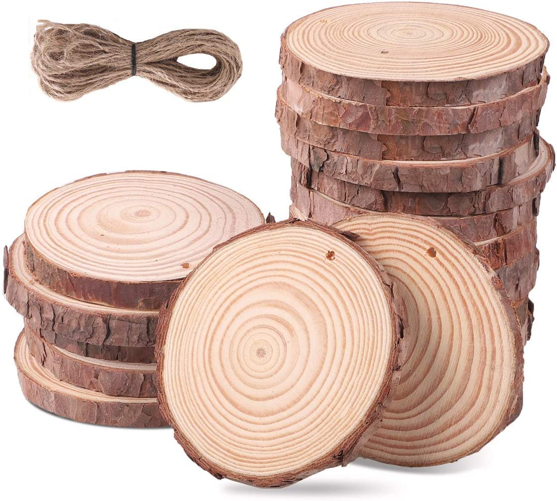 Amazon Com Wood Slices 10 Pcs 3 5 4 Wood Pieces Unfinished Predrilled With Hole Wooden Circles For Arts And Crafts Christmas Ornaments Diy Crafts