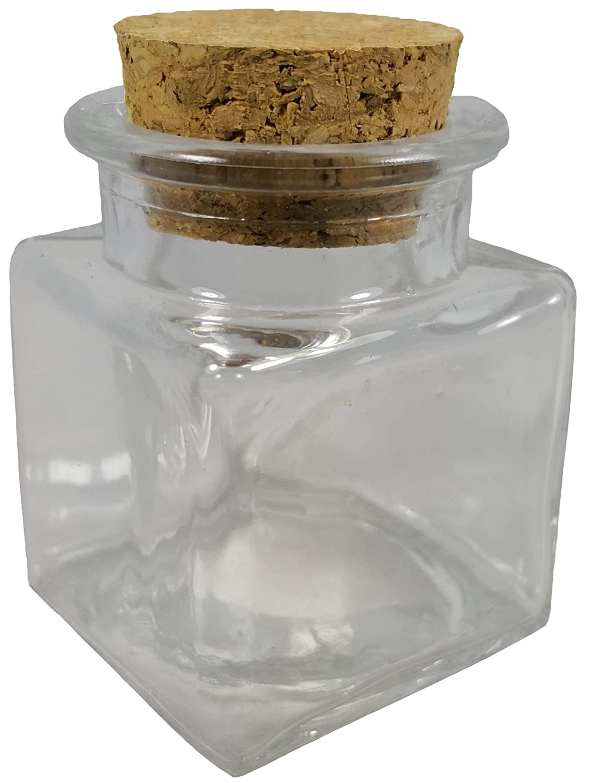 36x Barattoli bomboniera confettata in vetro quadro quadrato con sughero 4cm