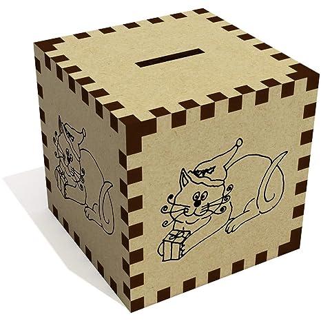 Azeeda Gato con el Regalo Caja de Dinero / Hucha (MB00001203)
