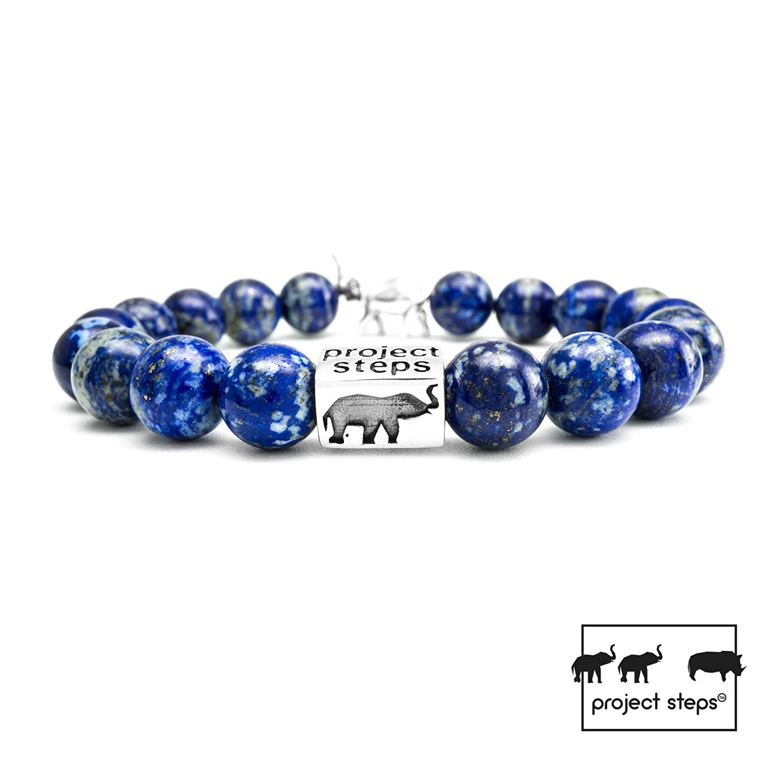 Support wildlife! Project-Steps Jewell Original Matte Tiger Eye natural gemstones stretch bracelet with silver cube 925 for Men and Women