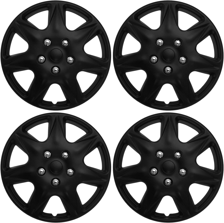 Fit Universal 14 in Hub Caps Hubcap Wheel Cover Tire Skin Black Chrome 4PC