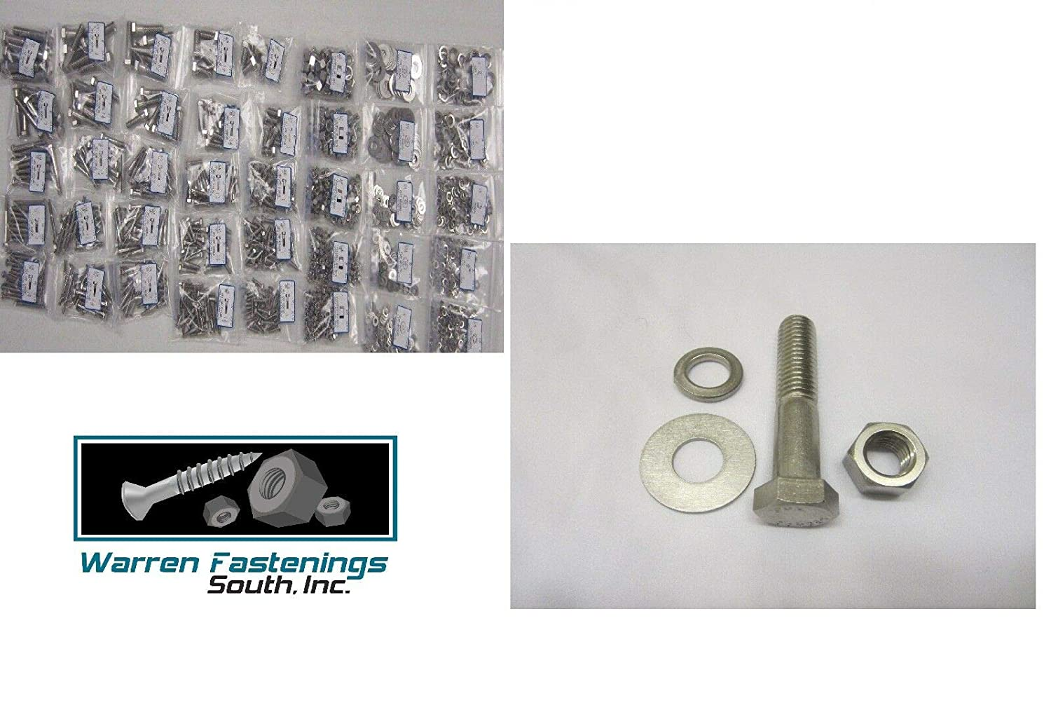 Bolt 304 and Washer Assortment 18-8 Nut Coarse Thread Set 1150 Piece Stainless Steel Hex Head Cap Screw