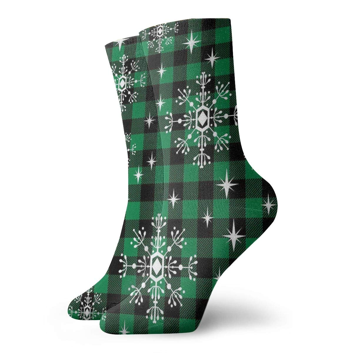 Christmas Snowflake Black And Green Plaid Pattern Unisex Funny Casual Crew Socks Athletic Socks For Boys Girls Kids Teenagers