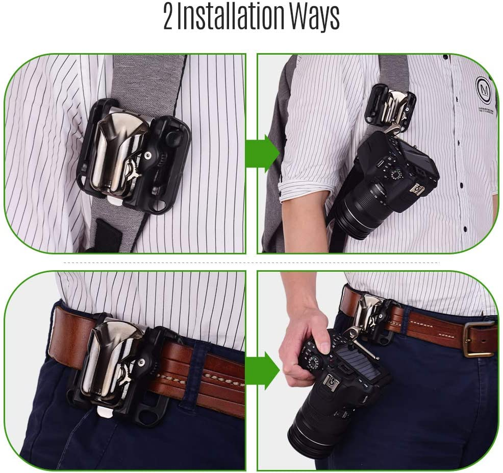 Andoer Camera Belt Holster Mount Waist Clip Holder Hanger with Quick Release Plate 1//4 Inch Screw for Canon Nikon Sony Olympus DSLR Cameras