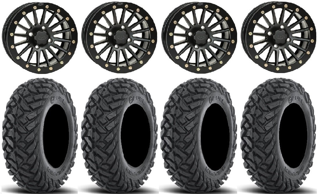 Bundle - 9 Items: ITP Black Ops Beadlock 14'' Wheels 28'' Gripper Tires [4x137 Bolt Pattern 12mmx1.25 Lug Kit]