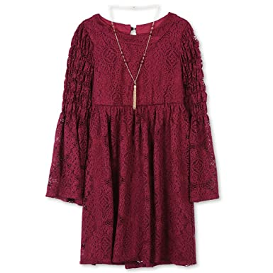 Speechless Girls Lace Bell Sleeve Dress With Smocking