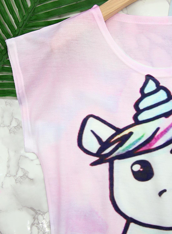 Futurino Women's Summer Colorful Bow Tie Unicorn Print Short Sleeve T-Shirt Tops (XL, Baby Unicorn) by Futurino (Image #4)
