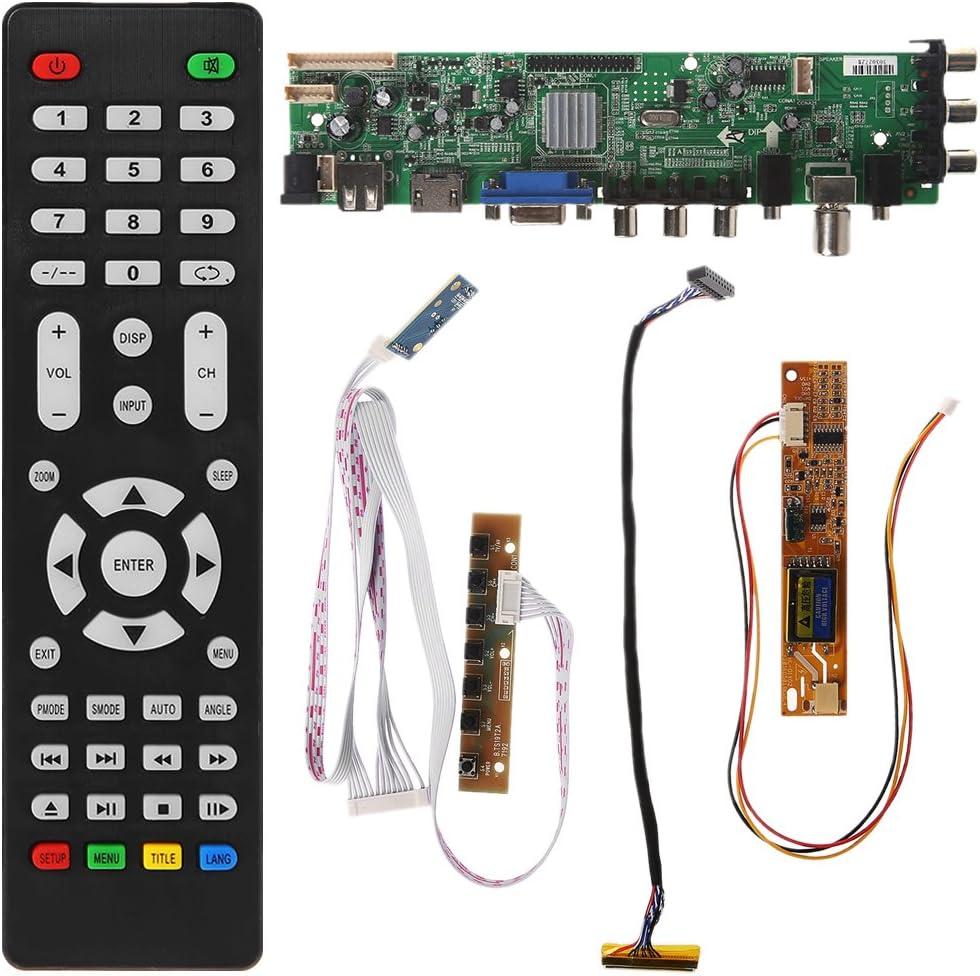 SimpleLife V56 V59 Universal LCD TV Driver Board DVB-T2 + 7 Interruptor de Llave + IR + 1 Inversor de lámpara + LVDS Kit 3663: Amazon.es: Hogar