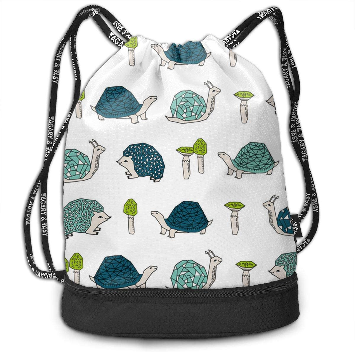Drawstring Backpack Mushrooms Hedgehogs Snail Gym Bag