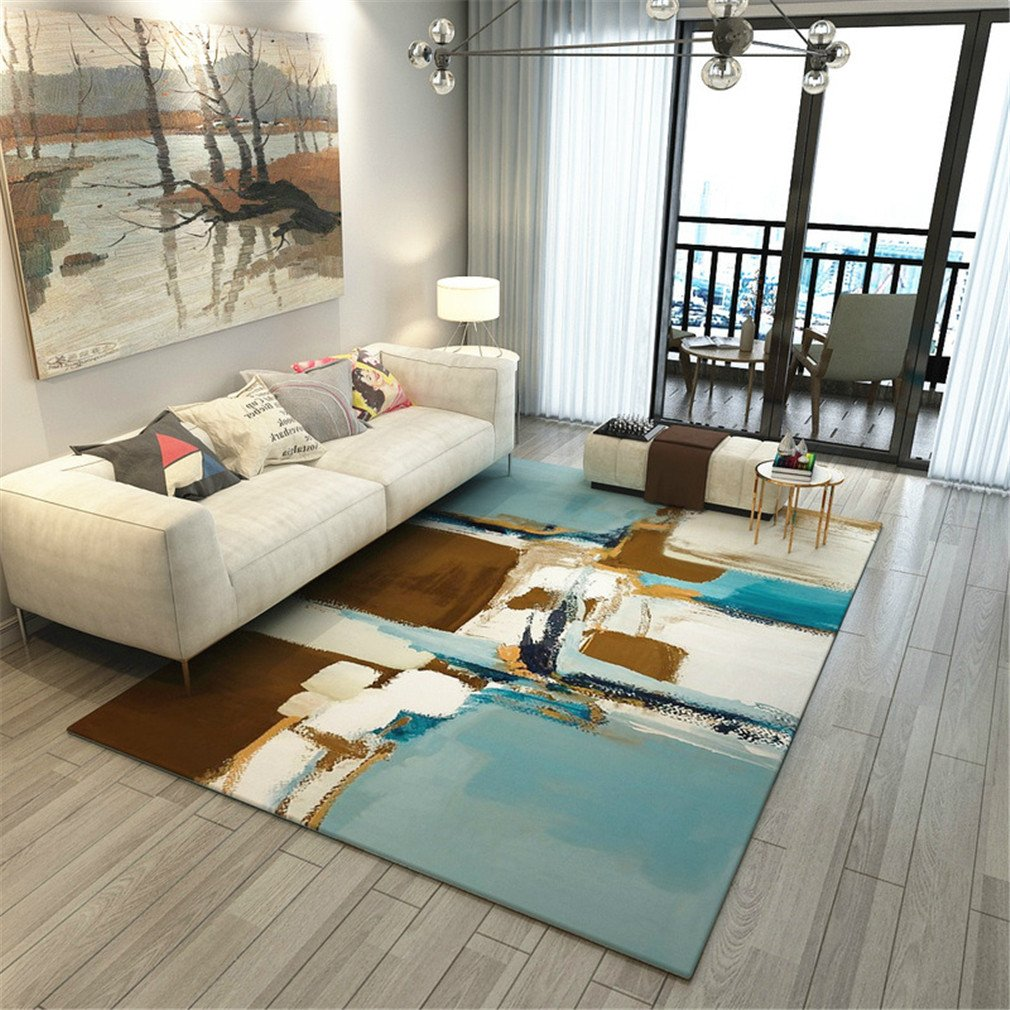 MIRUIKE Modern Abstract Polypropylene Area Rugs for Living Room Hypoallergenic Non-Slip
