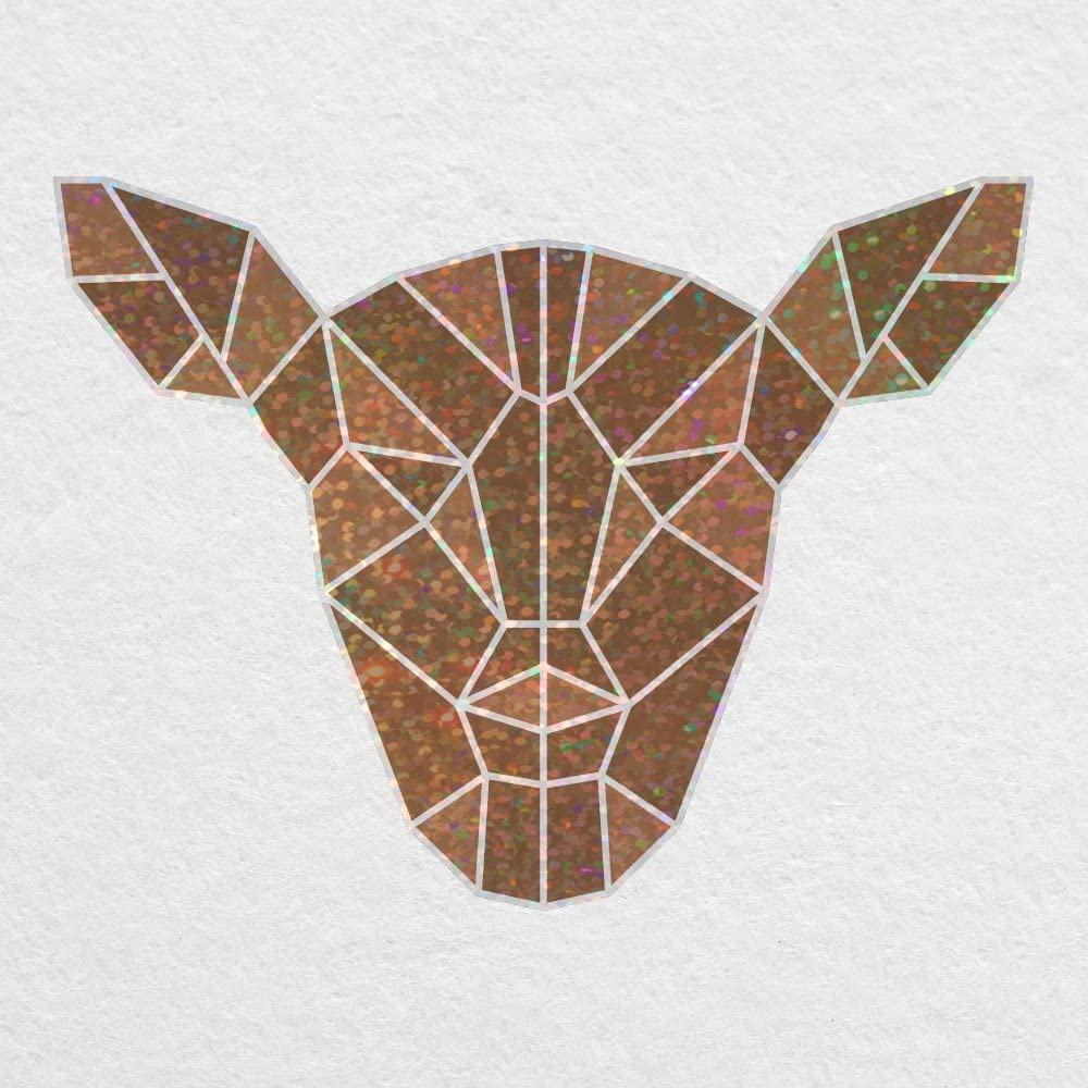"""Low Poly Deer Head - 5"""" Printed Glitter Vinyl Decal - for MacBook, car, Laptop, and More!"""