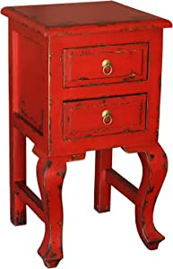 Porthos Home Antique Revival Bala Side Table in Distressed Red