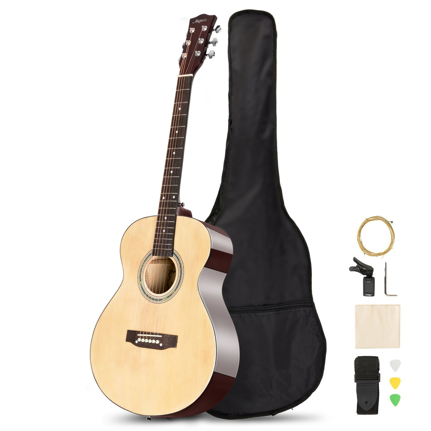 ARTALL 39 Inch Handmade Solid Wood Acoustic Dreadnought Guitar Beginner Kit with Tuner, Strings, Picks, Strap, Glossy Red