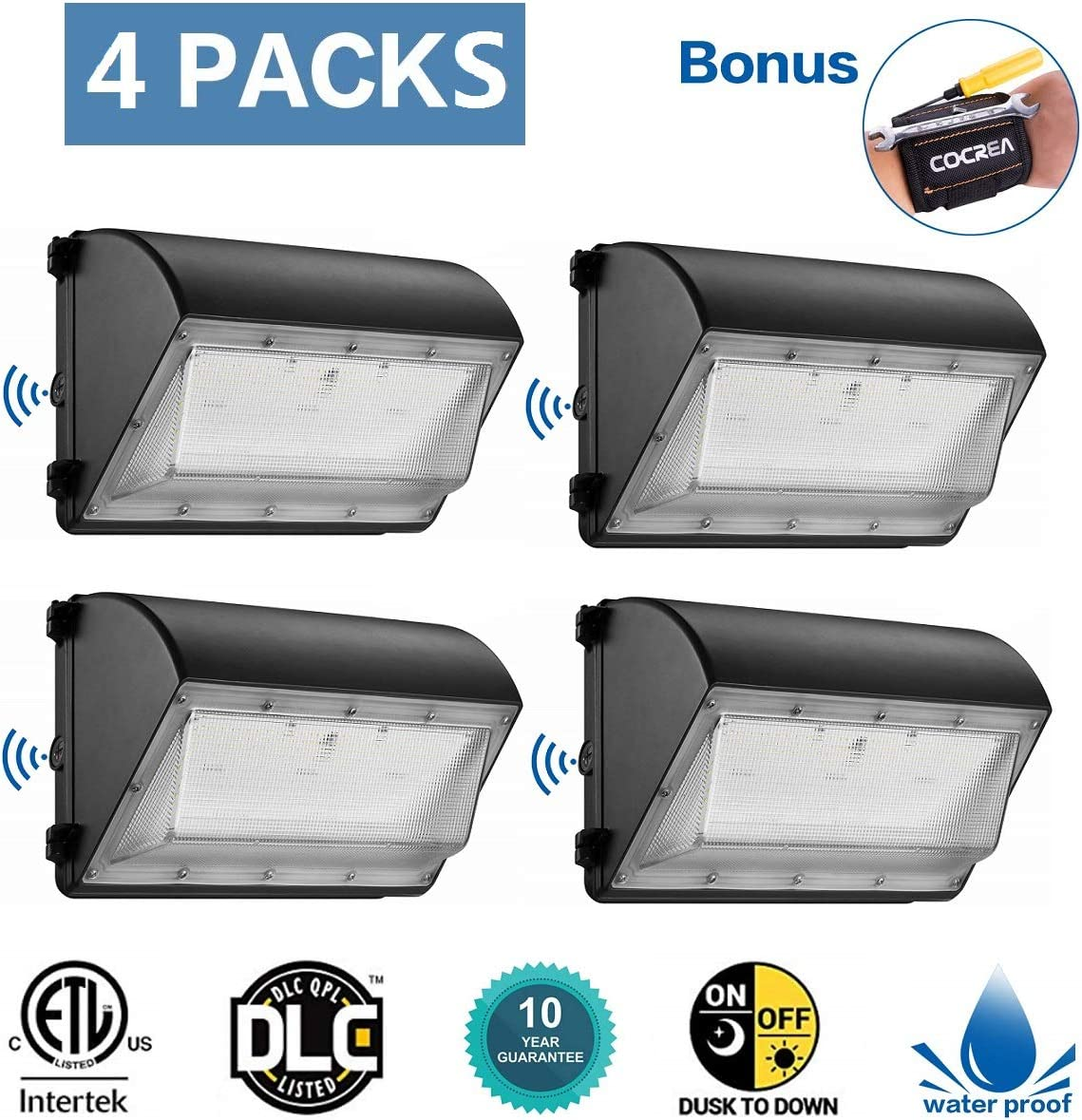 Dusk to Dawn LED Outdoor Lighting 4 Packs 60W,LED Wall Pack with Photocell 5000K 7,200lm 100-277VAC, Waterproof Commercial Wall Pack, 210W-300W HPS MH Replacement, ETL DLC Listed 10 Year Warranty