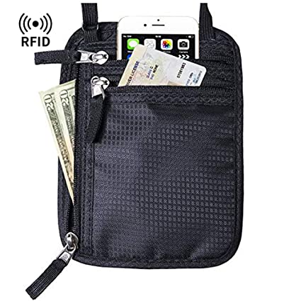 218f9e659bf8 RFID Blocking Stash Neck Wallet- Travel Pouch - Black Passport Holder for  Women & Men - Cruise Ship Accessories