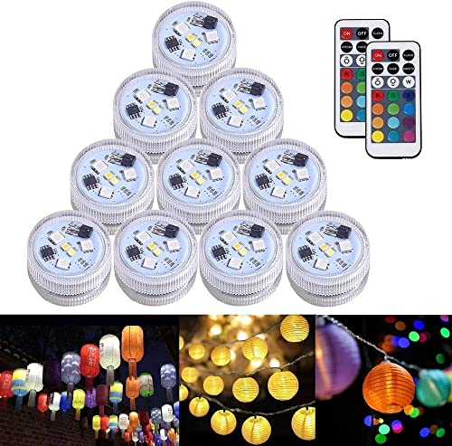JT 10pcs Paper Lantern Lights Waterproof Tea Lights Candle with Remote,RGB Color Changing Submersible LED Light,Battery Operated for Vase Valentine Wedding Birthday Party Decoration Table Centerpieces