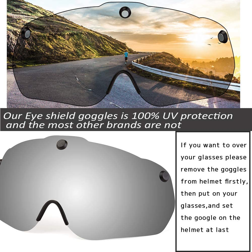 KINGBIKE Bicycle Helmet CPSC Certified Detachable Eye Shield Goggles Silver Mirror Tint,100/% UV400 Protection,Can Over The Glasses Helmet Backpack Men Women,Safety LED Light