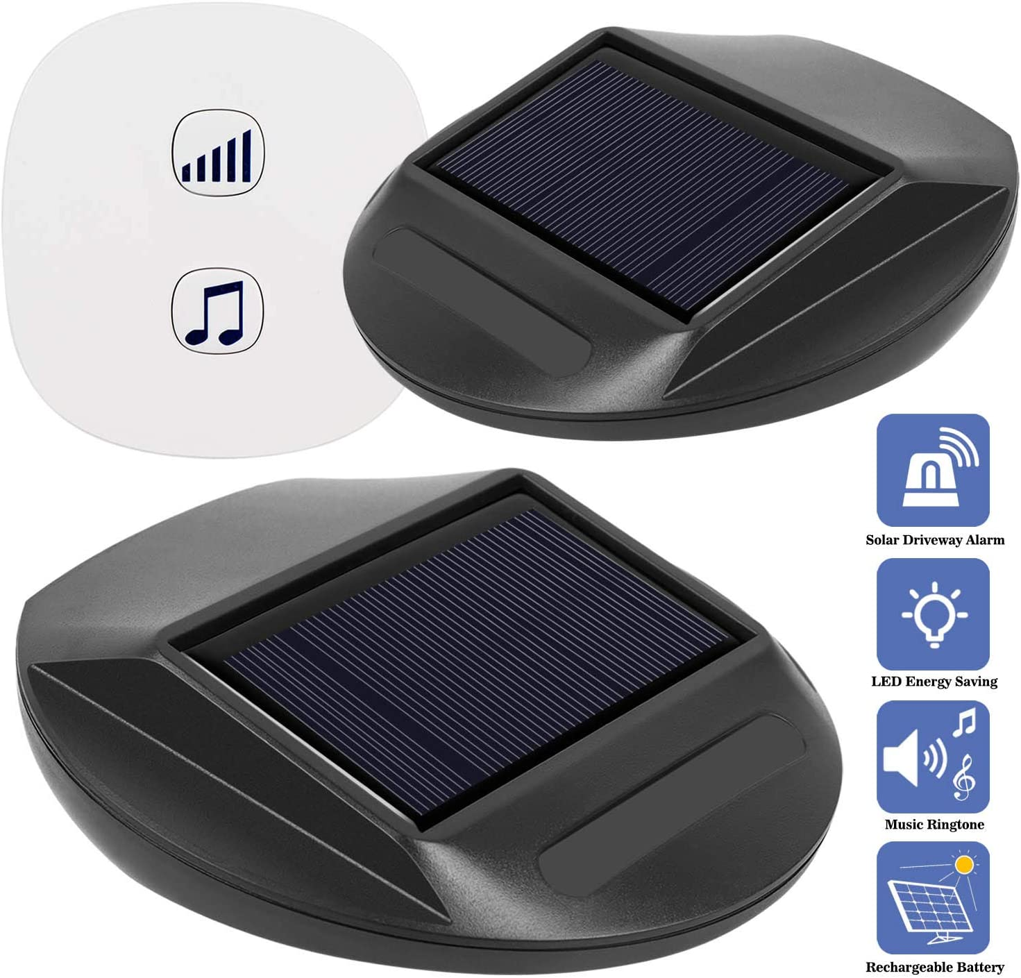 Seanme Solar Motion Sensor Alarm,Solar Lights, Wireless Driveway Alarm, Outdoor,Indoor Weatherproof Business Detect Alert with 2 Sensor and 1 Receiver,38 Chime Tunes – LED Indicators