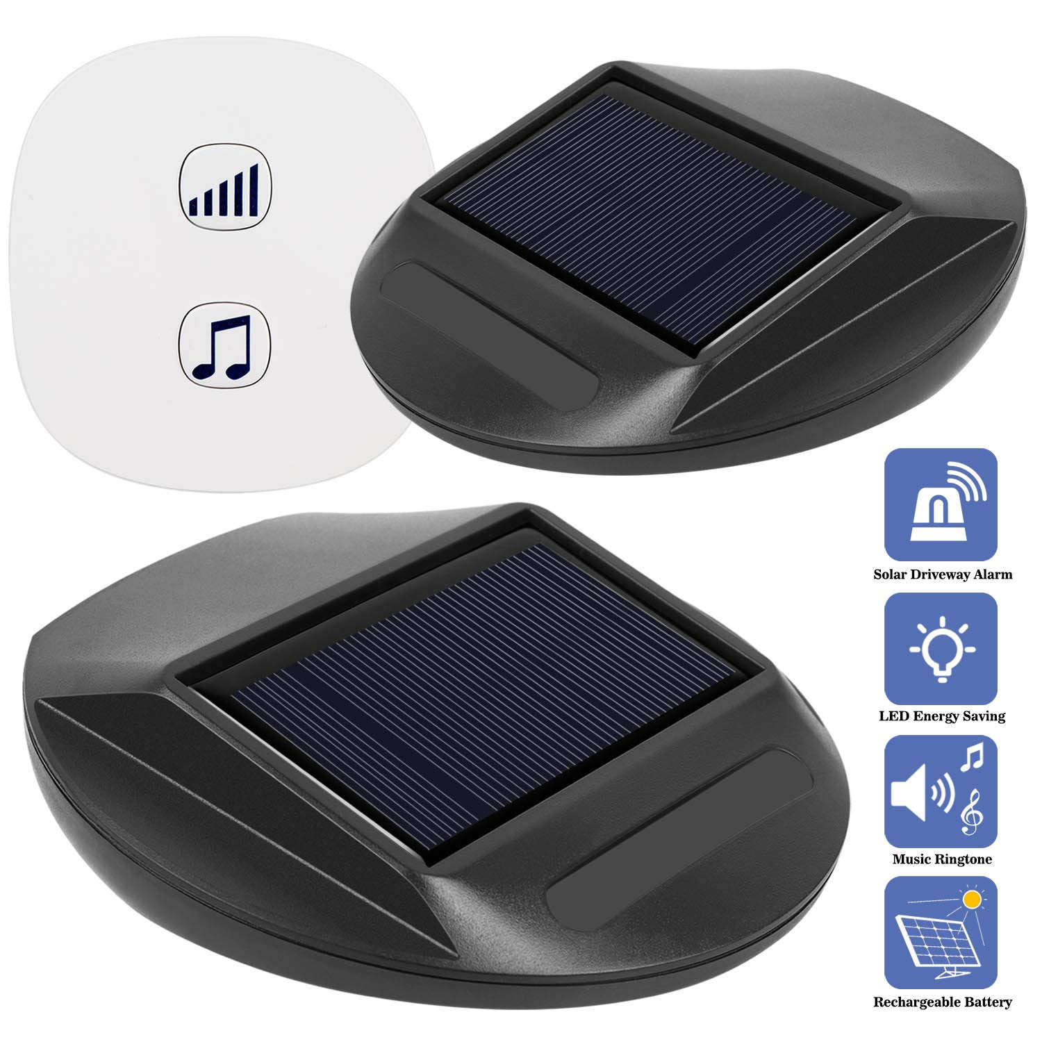 Seanme Solar Motion Sensor Alarm,Solar Lights, Wireless Driveway Alarm, Outdoor,Indoor Weatherproof Business Detect Alert with 2 Sensor and 1 Receiver,38 Chime Tunes - LED Indicators by seanme