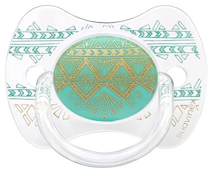 Chupete premium Suavinex Couture con tetina fisiológica de silicona, diseño étnico en tonos verdes y