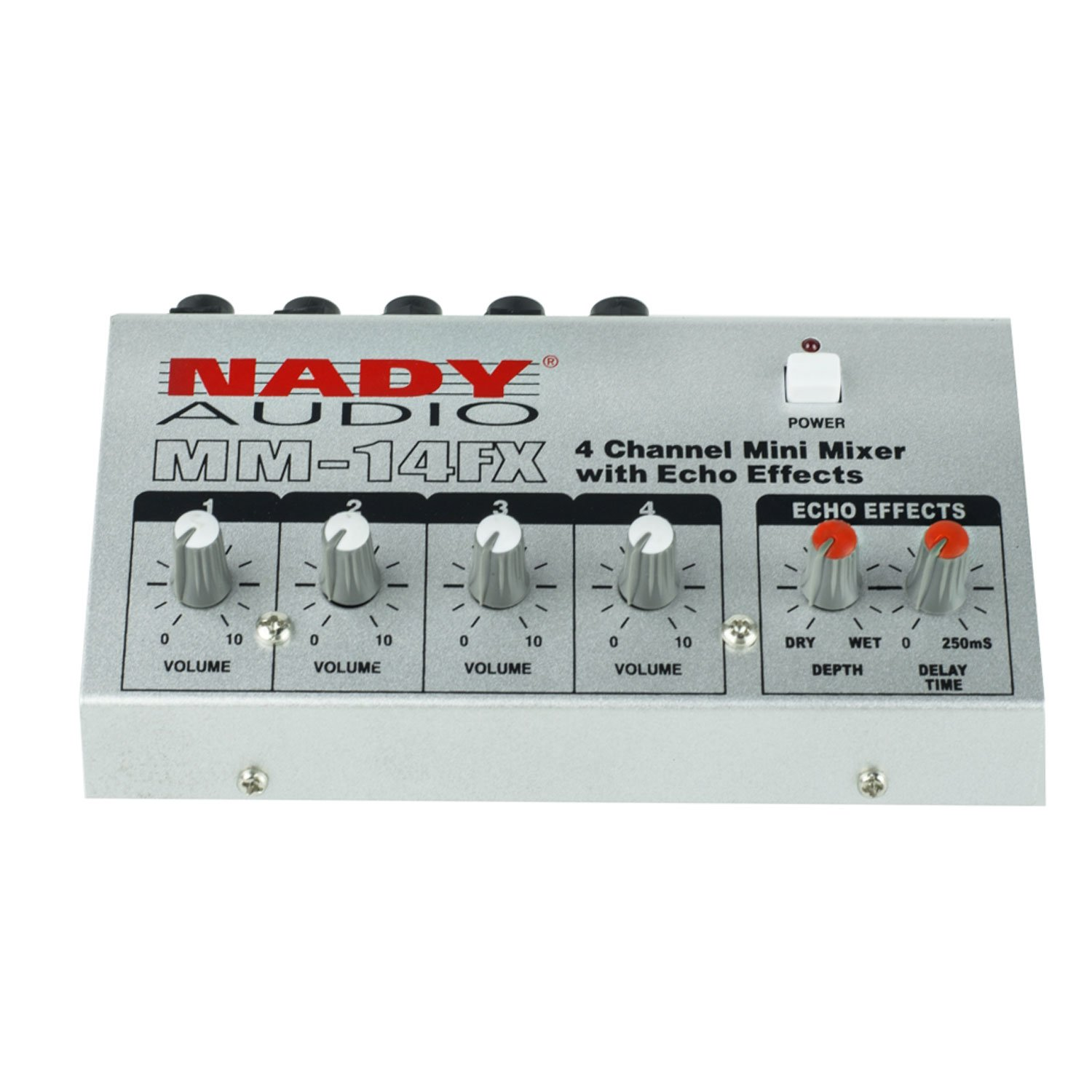 "Nady MM-14FX 4-Channel Microphone Mixer with integrated echo effect – ¼"" Inputs & output – Delay time & Depth controls MM14FX"