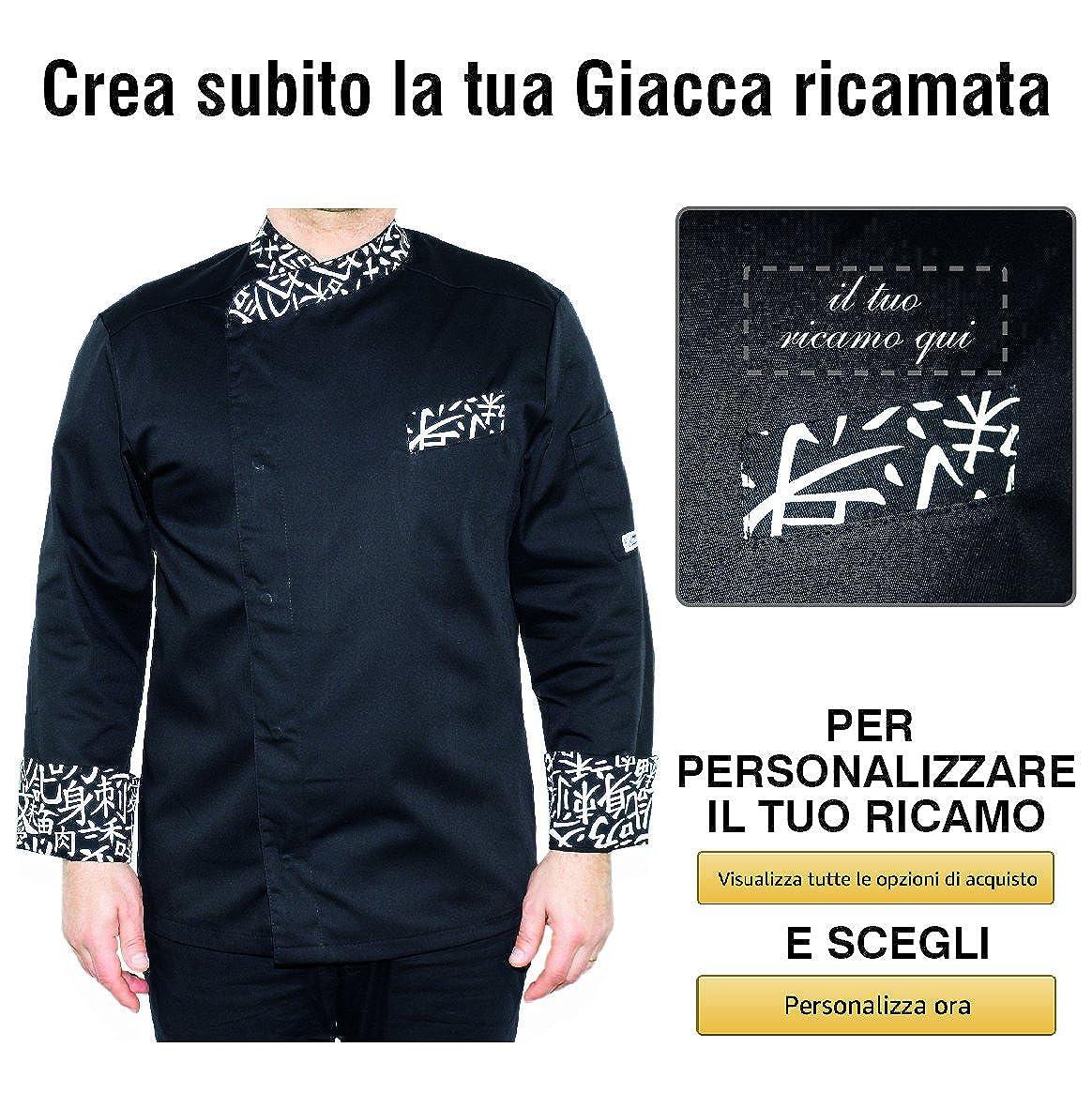 GP Industria Grafica - Isacco Giacca Cuoco con Nome Ricamato  Personalizzabile Online Modello Durango Nero Sushi Isacco  Amazon.it   Abbigliamento 6c42d29b72fb